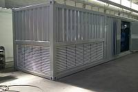 40ft sound-attenuated container for gen-set with internal separate horizontal radiator